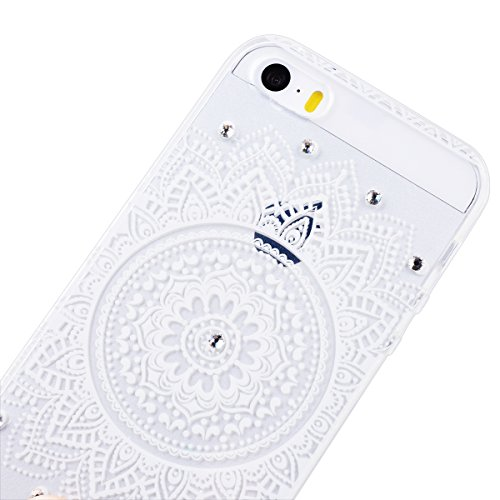 GrandEver Coque pour iPhone 5 / 5s / SE Silicone en Gel Transparente avec Mandala Motif Bling Glitter Diamant Design Crystal Clair Ultra Mince Douce et Anti-Scratch Housse Etui Case Mandala 3