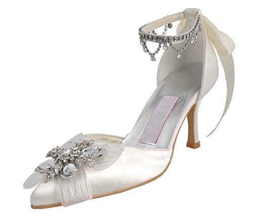 MINITOO ,  Damen Modische Hochzeitsschuhe, weiß - White-7.5cm Heel - Größe: 39 1/3 - Glitter Bow Flats Schuhe