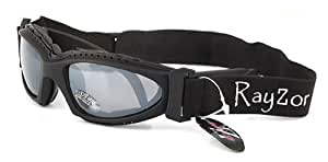 Rayzor Professional UV400 Black 2 In 1 Ski / SnowBoard Sunglasses / Goggles, With a Smoked Mirrored Anti-Glare Clarity Lens and a Detachable Elasticated Headband.