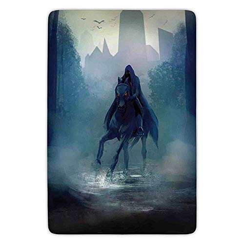 Velvet Red Riding Hood (XIAOYI Bathroom Bath Rug Kitchen Floor Mat Carpet,Fantasy World,Fantasy Horseman with Hood Riding in Dark Mystic Foggy Forest Road Fairytale Theme,Navy,Flannel Microfiber Non-Slip Soft Absorbent)