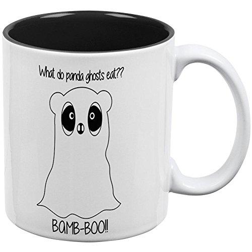 Old Glory Halloween Panda Ghost Wortspiel schwarz Text alle über Kaffee Tasse, Keramik, Weiß-Schwarz, Einheitsgröße