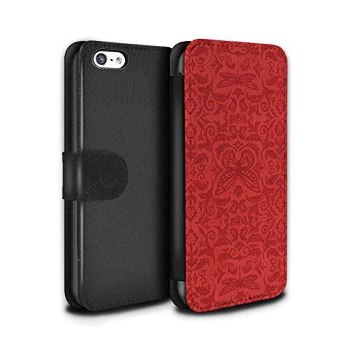 Stuff4 Coque/Etui/Housse Cuir PU Case/Cover pour Apple iPhone 5C / Noir / Blanc Design / Motif médaillon Collection Rouge