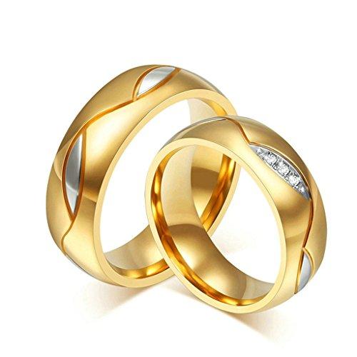 Aooaz Edesltahl Paar Ringe Gold Runde Silber Blätter Weiß Kristall Damen Ring Verlobung Punk Größe 54 (17.2) (Brettspiel Paar Kostüme)