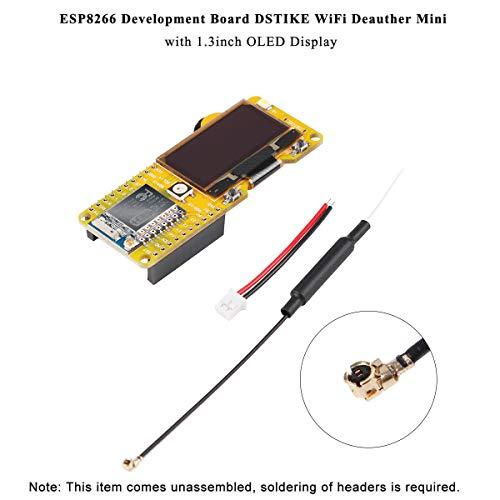 MakerHawk ESP8266 DSTIKE WiFi Deauther 1.3inch OLED Display V2.0.5 Software Onboard und 2dB Antenne, Spiel mit TP4056 + PL5353A Batterie, Schutz kurz, Überladung, Überentladung und Temperatur -