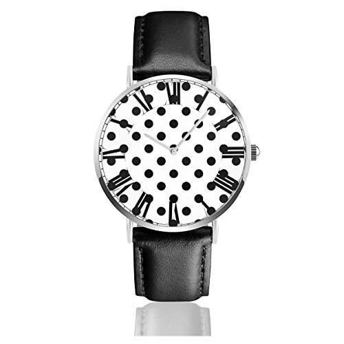 PecoStar Poka DOT Herren Damen Lederband Uhren Business Analog Quarz Wasserdicht Armbanduhr Casual Armbanduhr mit Lederband (Poka Dot)