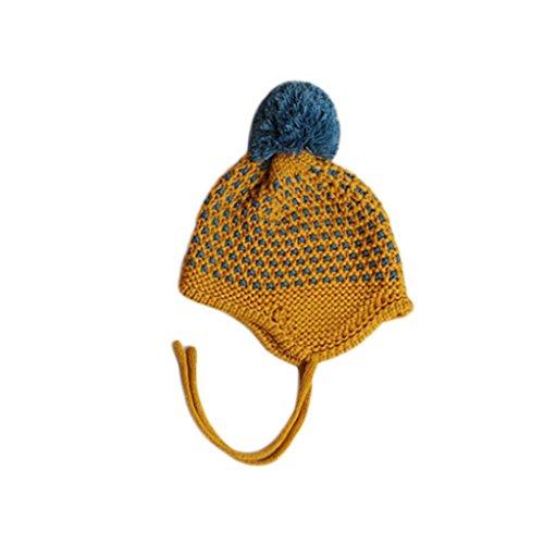 Baby Ohrenschützer Hut Transer® Unisex Mädchen/Jungen Kleinkind Säugling Cap Wolle Wärmer Winter Outdoor Mützen mit Flauschigen Ball für 3-24 Monate Baby (Mann Hut Im Gelben)