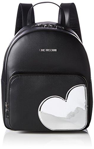 Love Moschino Borsa Calf Pu Nero+tpu Argento - Zaini Donna, Mehrfarbig (Black/silber), 31x28x12 cm (L x H D)