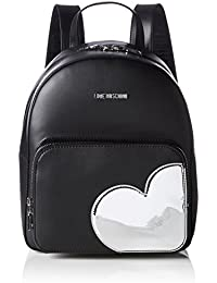 Love Moschino - Borsa Calf Pu Nero+tpu Argento, Mochilas Mujer, Mehrfarbig (Black/silber), 31x28x12 cm (W x H D)