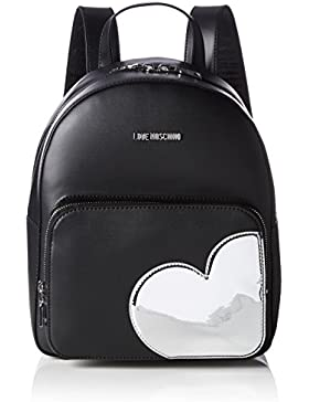 Love Moschino Damen Borsa Calf Pu Nero+Tpu Argento Rucksack, Mehrfarbig (Black/Silber), 31 x 28 x 12 cm