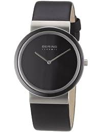afef750762d7 Bering Ceramic - Reloj analógico de caballero de cuarzo con correa de piel  negra - sumergible