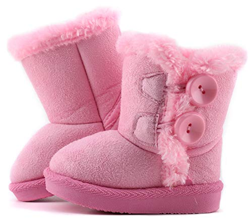 LONSOEN Boys Girls Warm Snow Boots Button Faux Fur Lined Ankle Calf Winter Boots(Toddler/Little Kids)