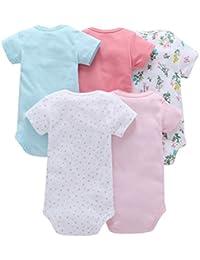 Paellaesp 5pcs bebé recién nacido niña impresión ropa diario mameluco playsuit mono 0-24 meses