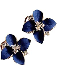 Sansar India Blue Enamel Flower Crystal Stud Earrings For Girls And Women
