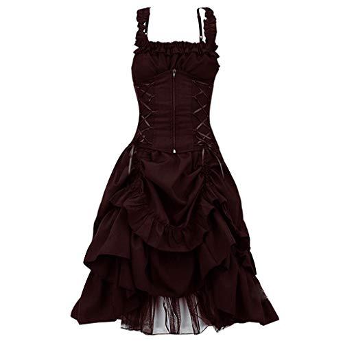 Frühjahrs Kostüm Halloween - ❤Loveso❤ Damen Elegant Retro Vintage Petticoat Kleider Faltenrock Rockabilly Kleid Steampunk Gothic Kostüm Teufelchen Halloween Cosplay