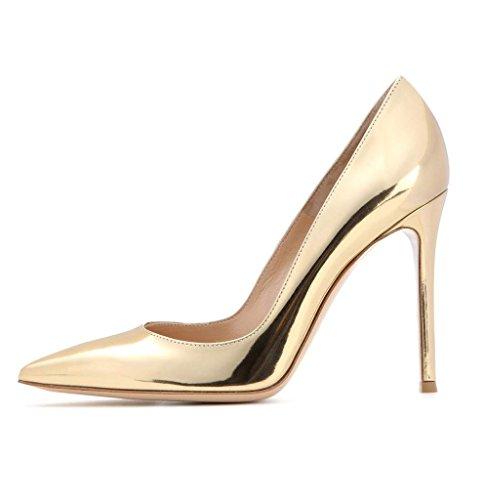 EDEFS - Escarpins Vernis Femme - Chaussures à Talons Hauts Aiguille - Bout Pointu PU Cuir - Fete Soiree Grande Taille gold
