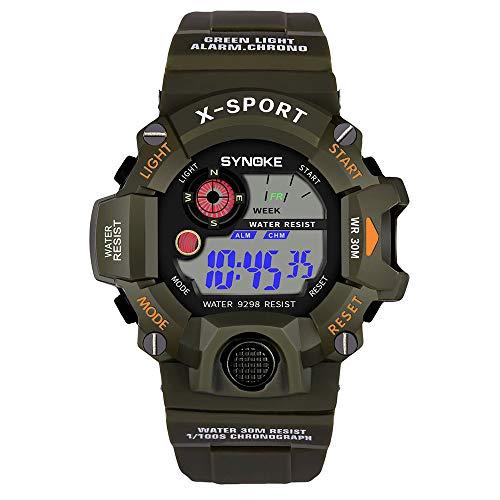OPALLEY Herren Multifunktions-Militärsport-Uhr LED-Digital-Doppel Bewegung Uhren Luminous, Alarm 30 Meter Wasserdicht die ganze Punkt Zeitnehmung, Lauf Sekunden, die Datumsanzeige, 12/24 Stunden-Uhren