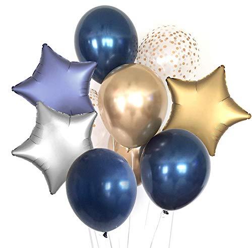 6 Stück Luftballons Blau Konfetti Luftballons Luftballon Metallic Gold und Folienballons Luftballon Gold Silber Stern Ballons Sterne Blau für Prinz Party, Taufdeko, Geburtstagdeko ()