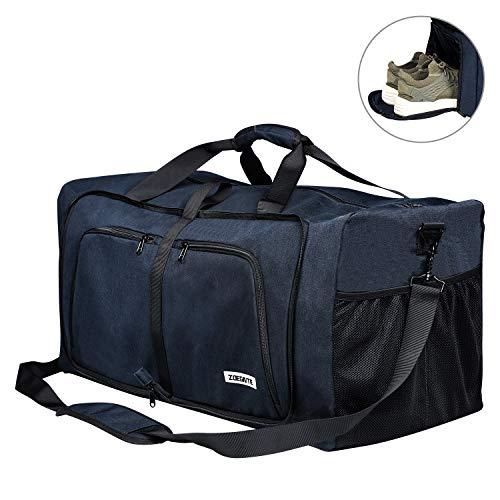 FORTUNAM Sporttasche, Faltbare Reisetasche Packbare Sporttasche mit Schuhfach Gym Fitness Tasche für Herren and Frauen Wochenend Handgepäck Tasche Reisegepäck mit Schulterriemen