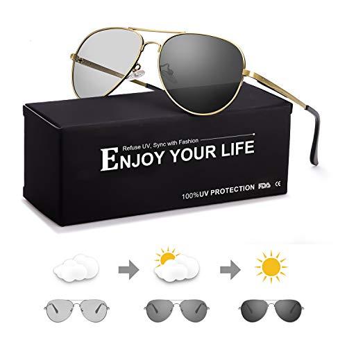 Polarisierte Sonnenbrille Herren Photochromatisch für Fahren Draussen Sports mit Ultraleicht Metallrahmen Leicht 100% UVA UVB Schutz (Gold)
