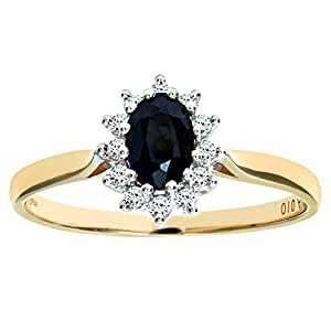 Naava Women's 0.1 ct Diamond with Sapphire Cluster Setting Ring in 9 ct Yellow Gold