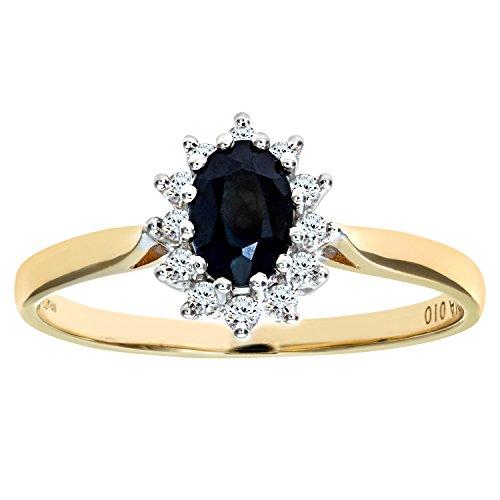 Bague Femme - Or jaune (9 carats) 1.6 Gr - Saphir - Diamant 0.9 Cts - T 48