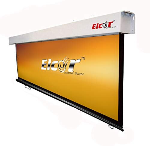ELCOR Manual Wall Spring Action Projection Screen 5ft x 7ft - 100 Inch Diagonal Aspect Format (Non-Autolock Mechanism)