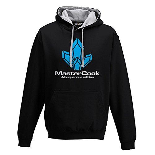 Felpa Cappuccio Bicolore Master Cook Albuquerque Edition Cucina Moda Cool 2 KiarenzaFD Streetwear Uomo Jet Black-Heather Grey