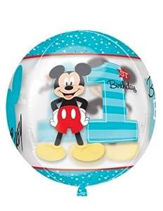 "Amscan International-343460115""Mickey Mouse 1st Birthday Boy claro Orbz globo en forma de"""