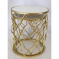 مجموعة من 2 طاولة جانبية جميلة من المعدن الذهبي والأبيض اللون الأعلى الرخام