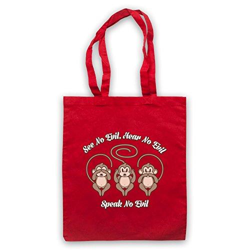 See No Evil Hear No Evil Speak No Evil Cute Monkeys Umhangetaschen Rot