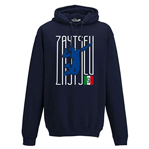 KiarenzaFD Felpa Cappuccio Volley Ivan Lo Zar Zaytsev Italia Pallavolo Schiacciata M Navy