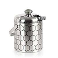ThinkGeek, Inc. Stainless Steel Ice Bucket With Ice Molecule Pattern | Includes Set Of Ice Tongs