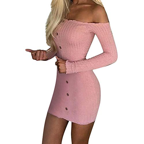 Hffan Damen Herbstkleid Eng Minikleid Elegant Sexy Modisch Langarm Schulterfrei Kurz Wickelkleid Stricken Tube Top Kleid Einfarbig Einfach Bequem Freizeit Minikleid(Rosa,Large)