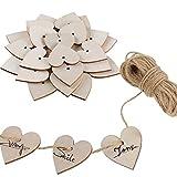 FOGAWA Herz Holz 100 Stücke Holzherzen Verzierungen Dekor Anhänger Holz Scheiben mit Natürliche Schnur für Geschenk Hochzeit Party Schreiben Handwerk DIY