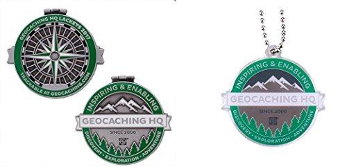 41U8L33RgAL - geo-versand 2017Lackey–Antique Silver with Travel Tag Geocoin/Tag Set