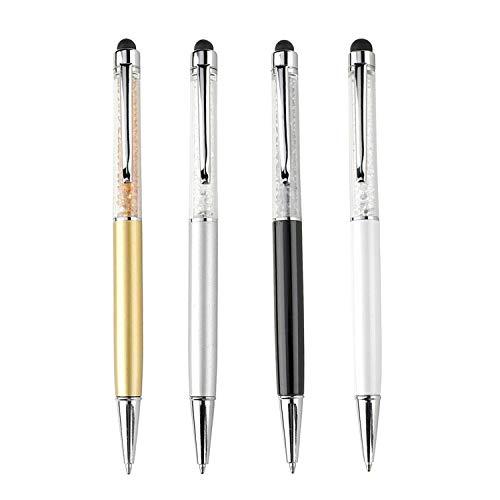 4 Ss Crystal (2-In-1-Touchscreen-Eingabestift und Kugelschreiber mit Swarovski-Kristallen mit 4Ersatzminen (SET 4: WEISS, SCHWARZ, SILBER, LATTÉ))