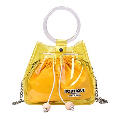 XZDCDJ Crossbody Tasche Damen kleine Daypacks UmhängeTaschen Mode Beam Mouth Transparent Diagonal Umhängetasche Einfarbig Handtasche Gelb Diagonal Beam