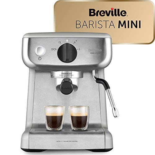 Cafetière/Machine à Expresso Breville Barista Mini, Semi automatique avec Buse à Vapeur pour Faire Mousser Le Lait et Pompe italienne de 15 Bars [VCF125X]