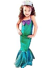 Vestido Niñas 3-12 años vestidos de cola de pescado princesa Ariel lindo vestido de sirena fiesta de Halloween…