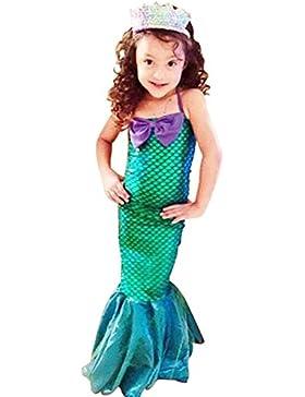 Vestido Niñas 3-12 años vestidos de cola de pescado princesa Ariel lindo vestido de sirena fiesta de Halloween...