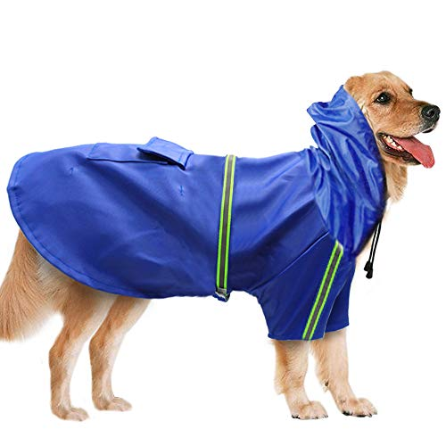 BLEVET Regolabile Libero Riflettente Impermeabile Giacca Impermeabile per Cane Cucciolo Gatto MZ058 (L, Blue)