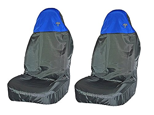 Preisvergleich Produktbild Xtremeauto® Sitzbezüge, Schwarz/Blau, wasserdicht, robust, reißfest, mit hoher Lehne, Bezug für Vordersitze mit Karo-Flagge-Logo (WLW2-B38-1).