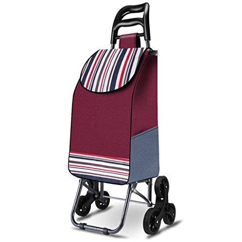 Leichtes Treppensteigen Klappbarer Einkaufswagen Einkaufswagen Einkaufskorb Koffer Gepäck 6 PU-Rad Ergonomischer Griff Klappbare Ziehwagen Große Kapazität 30L in Rot Auf Condo Apartment anwenden