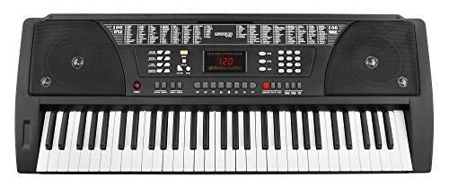 Funkey 61 Tasten Keyboard Schwarz (100 Klangfarben, 100 Begleitrhythmen, Lernfunktion, Cinch-Ausgang, Netzteil, Notenständer)
