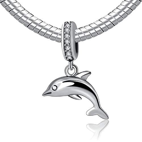 FeatherWish - Colgante de plata de ley 925 con diseño de delfín con circonitas cúbicas para pulsera Pandora