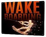 Cartel Letrero de Chapa Deportes Wakeboard