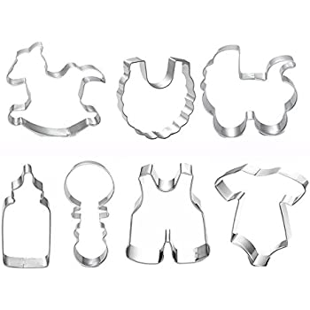 Baby Shower Theme Buggy Rocking Horse Bottle Cookie Cutter   Stainless  Steel BB Cookie Cutter Set With 6 Pieces (Baby 7pc)