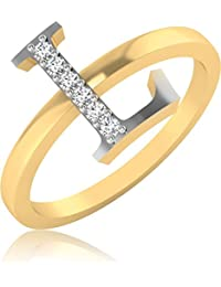 IskiUski The Alphabetical L Diamond Ring 18Kt Diamond Yellow Gold Ring Yellow Gold Plated For Women