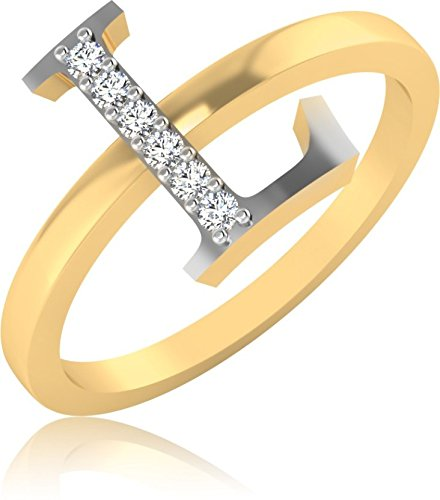 IskiUski The Alphabetical L Diamond Ring 18Kt Diamond Yellow Gold Ring Yellow Gold Plated For Women