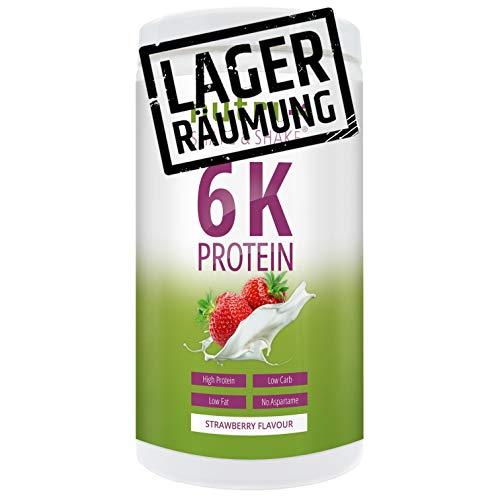 PROTEINPULVER ERDBEERE 500g Dose - 6k Mehrkomponenten-Protein mit Whey-Isolat + Casein Eiweiß - Shape & Shake Eiweißpulver Erdbeer-Geschmack - Hergestellt in Deutschland